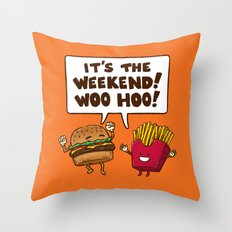The Weekend Burger Throw Pillow