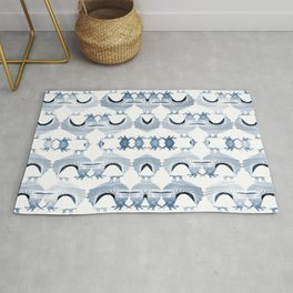 """Chickens from Your Barnyard, in Blue"" by Murray Bolesta Rug"