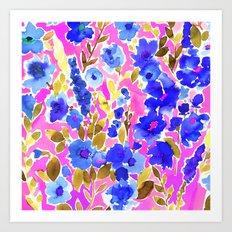 Isla Floral Pink Blue Art Print
