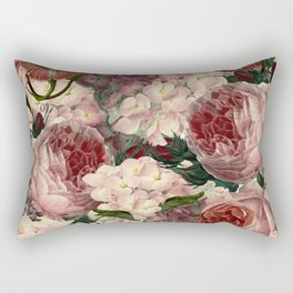 Vintage & Shabby Chic Pink Dark Floral Roses Lilacs Flowers Watercolor Pattern Rectangular Pillow
