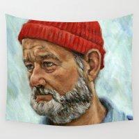 bill Wall Tapestries featuring Bill Murray / Steve Zissou by Heather Buchanan