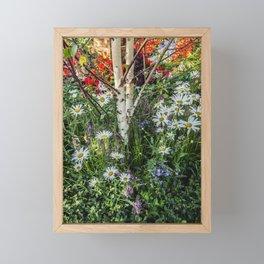 Rural landscape with a birch tree Framed Mini Art Print