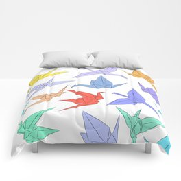 Japanese Origami paper cranes symbol of happiness, luck and longevity Comforters