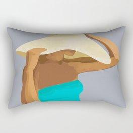 At the Beach: Aqua suit Rectangular Pillow