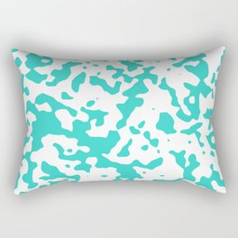 Spots - White and Turquoise Rectangular Pillow