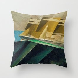 Mid Ocean nautical landscape painting by Lyonel Feininger Throw Pillow
