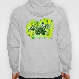 butterfly beautiful strong free splatter watercolor yellow green negative Hoody