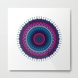 mandala - dropping points in blue, purple Metal Print