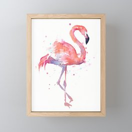 Pink Flamingo Watercolor Tropical Animals Bird Framed Mini Art Print