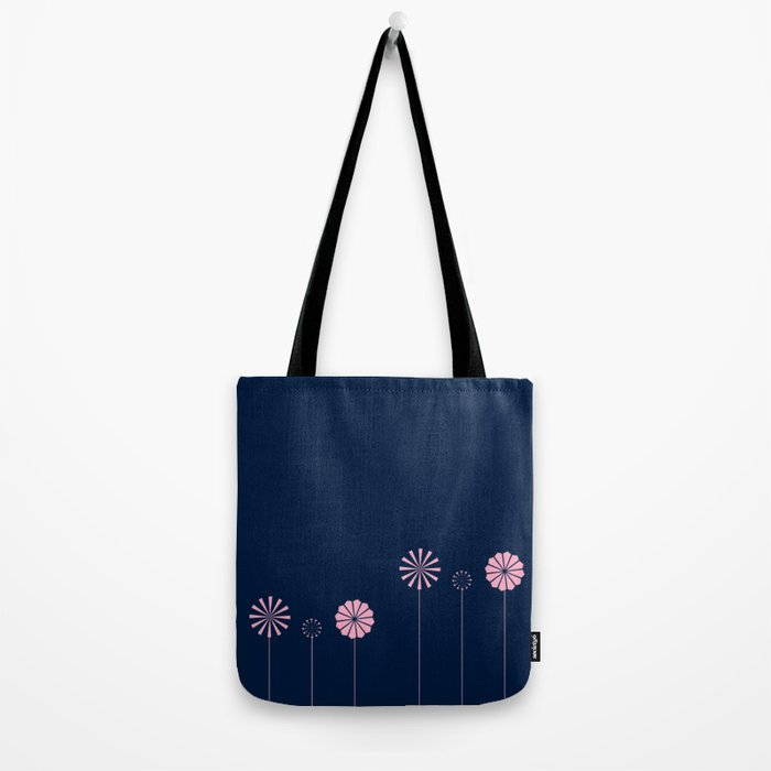 Pink Flowers at Night Pattern Tote Bag