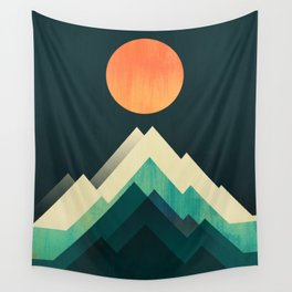 Ablaze on cold mountain Wall Tapestry