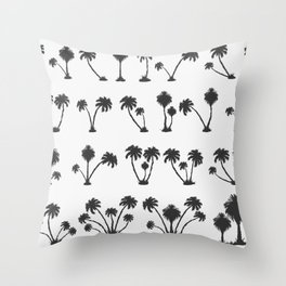 solar palm beach in a dark color Throw Pillow