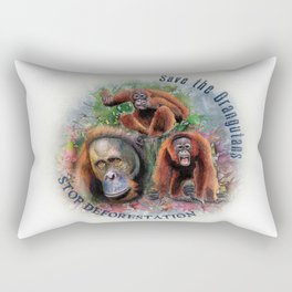 Save the Orangutans Watercolor Illustration Rectangular Pillow