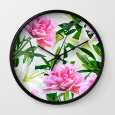 Pink Peonies & White Lilies Wall Clock