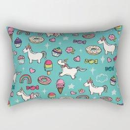 Aqua Blue Unicorns & Sweet Daydreams Rectangular Pillow