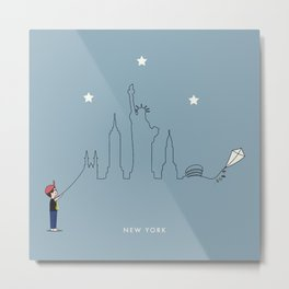New York Skyline Kite Boy Metal Print