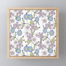 Cute floral pattern on a white background Framed Mini Art Print