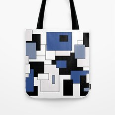 Squares -  gray, blue, black and white. Tote Bag