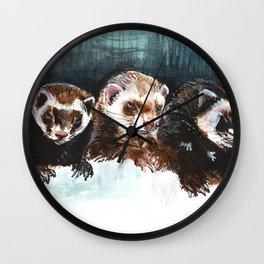Three Sleepy Ferrets Wall Clock