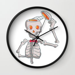 Funny skeleton with bowtie. Wall Clock