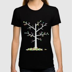Graphic Tree  LARGE Black Womens Fitted Tee