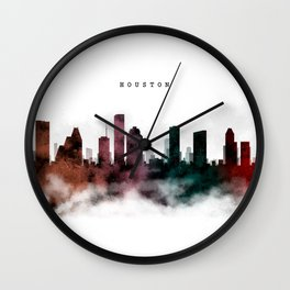 Houston Watercolor Skyline Wall Clock
