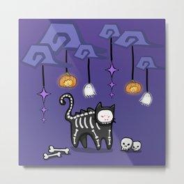 SkeletonCat Metal Print