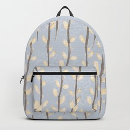 Pussy Willow Branches on Soft Grey Backpack