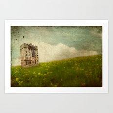 Building in a field Art Print