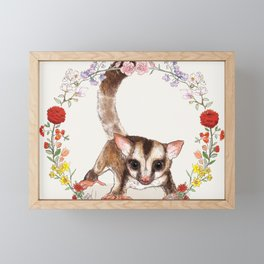 Sugar Glider in Flower Wreath Framed Mini Art Print
