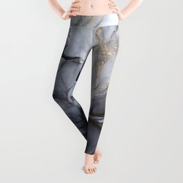 Calm but Dramatic Light Monochromatic Black & Grey Abstract Leggings