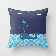 Ahab and the Whale Throw Pillow