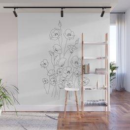 Poppy Flowers Line Art Wall Mural