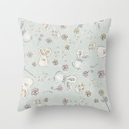 Pastel easter eggs and bunnys II Throw Pillow