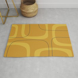 Retro Loops Minimalist Midcentury Modern Pattern in Mustard Tones with Navy Blue Accents Rug