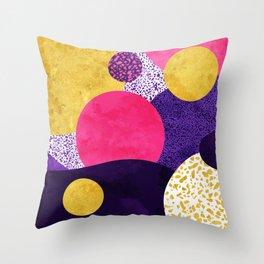 Terrazzo galaxy purple night yellow gold pink Throw Pillow