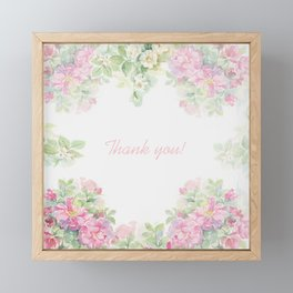 Thank you quote & Rose flowers Framed Mini Art Print