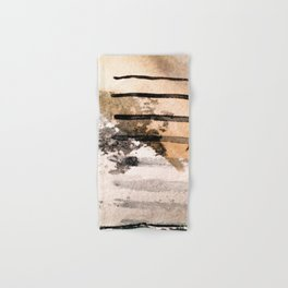 Desert Musings - a watercolor and ink abstract in gray, brown, and black Hand & Bath Towel