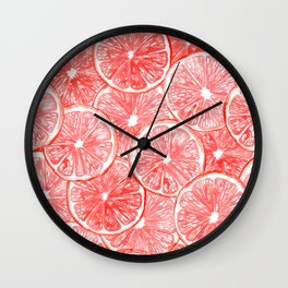 Watercolor grapefruit slices pattern Wall Clock