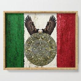 MEXICAN EAGLE AZTEC CALENDAR FLAG Serving Tray