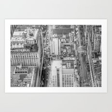 New York Manhattan buildings black and white photography Art Print