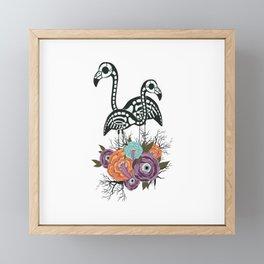 Flamingo Skeleton With Halloween Flowers Framed Mini Art Print