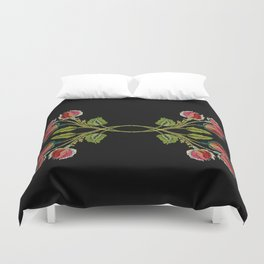 Embroidered Scandi Flowers Duvet Cover