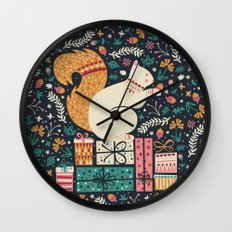 Merry Little Squirrel  Wall Clock