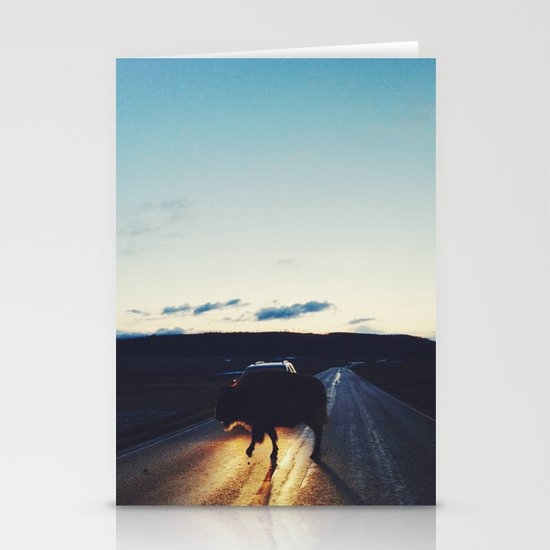 Bison in the Headlights Stationery Cards