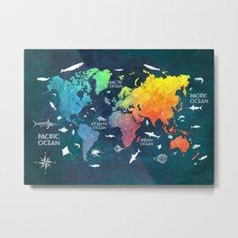 Ocean World Map color #map #worldmap Metal Print