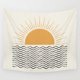 Sunrise Ocean -  Mid Century Modern Style Wall Tapestry