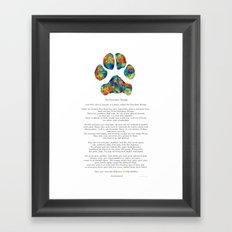 Rainbow Bridge Poem With Colorful Paw Print by Sharon Cummings Framed Art Print