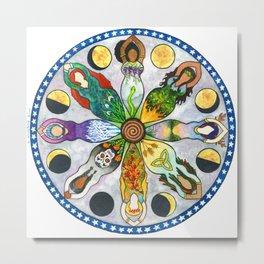 Wheel of the Year Goddess Mandala Metal Print