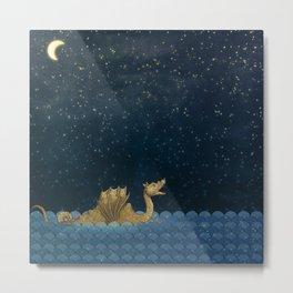 Sea Monster & Stars Night Sky Metal Print